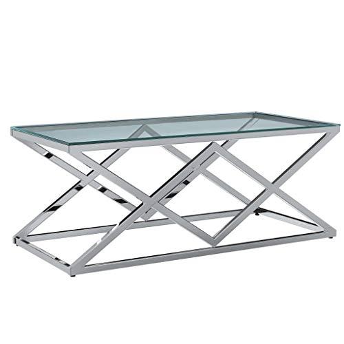 vidaXL Couchtisch Wohnzimmertisch Sofatisch Kaffeetisch Beistelltisch Glastisch Tisch Transparent 120x60x45cm Gehärtetes Glas Edelstahl