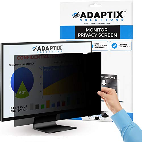 "Adaptix Monitor Privacy Screen 25"" – Info Protection for Desktop Computer Security – Anti-Glare, Anti-Scratch, Blocks 96% UV – Matte or Gloss Finish Privacy Filter Protector – 16:9 (APF25.0W9)"