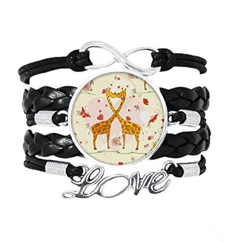 DIYthinker Gelbe küssende Giraffen Valentinstag Armband Liebeszubehör gedrehtes Leder Strickseil Armband Geschenk