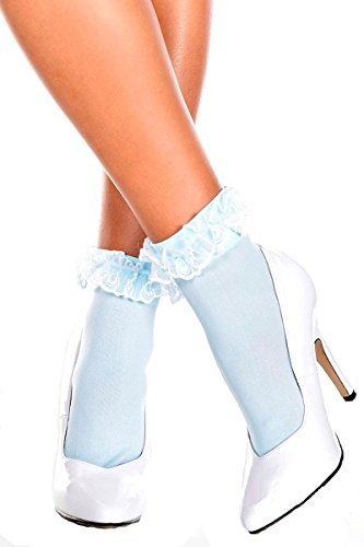 Music Legs Opaque Anklet with Ruffled Lace Top (Blue)