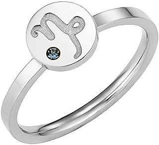 Taylor & Vine Star Signs Capricorn Horoscope Ring with CZ Gem Birth Stone, Silver Tone