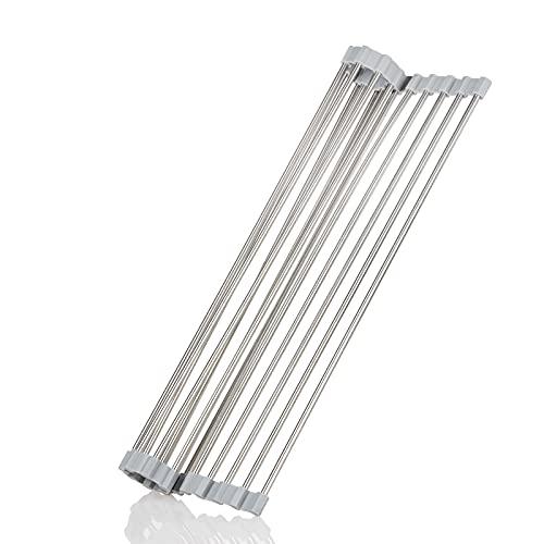 Escurreplatos Roll-Up de acero inoxidable 304 sobre el fregadero, estante para fregadero de cocina con ruedas (17 x 11,8 pulgadas)