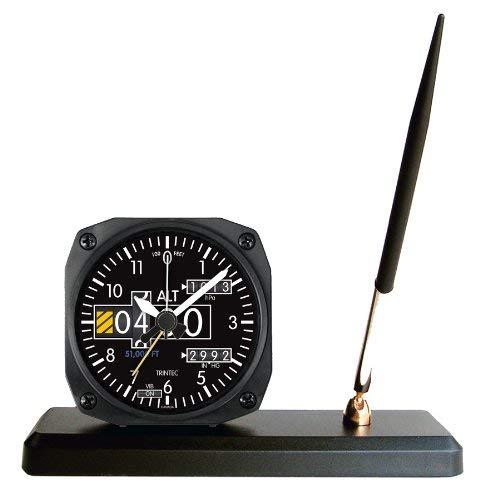Trintec 2060Series NV Aviación Altímetro Desk Pen Set Con despertador 3.5