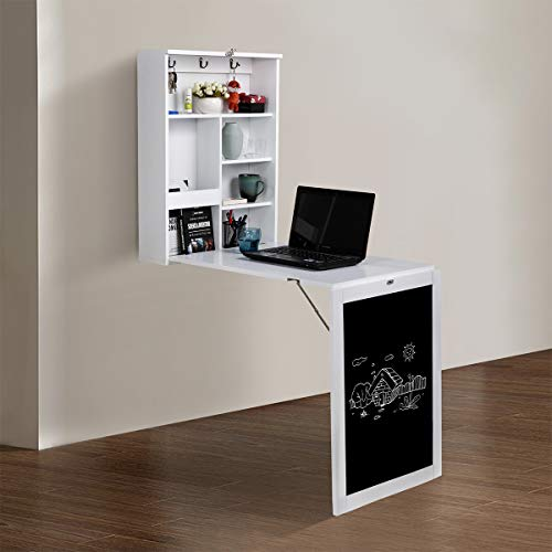 JAXPETY Wall Mounted Space-Saving Desk, Fold Out Computer Laptop Desk with Storage Bookcase & Chalkboard, Convertible Writing Desk for Home Office, White + Black