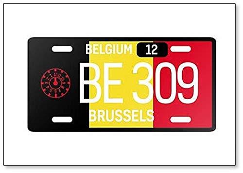 Imán para nevera con diseño de placa de coche de Bélgica