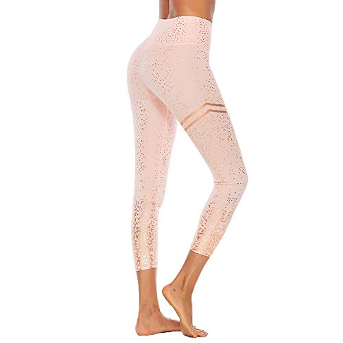 CHIYEEE Hohe Taille Yoga Gamaschen Damen Laufhose Bauch Kontrolle Workout Legging Sport Hosen Rosa S