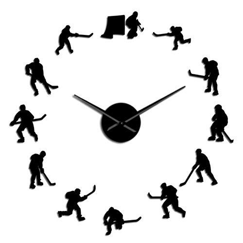 ZYZYY 27inches Hockey Wandbehang Sport Wandkunst Aufkleber DIY Große Wanduhr Eishockey Spieler Wohnkultur Rahmenlose Wanduhr Geschenk Für Mann