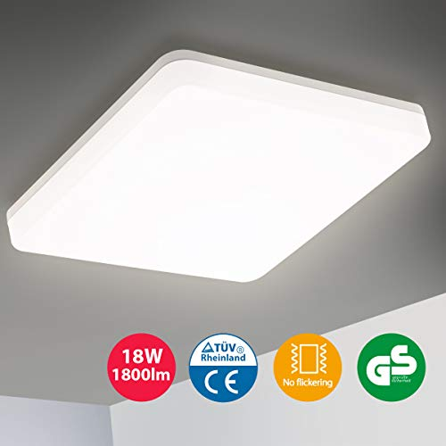 Oeegoo 18W LED Deckenleuchte Bad, 1800LM Flimmerfreie Deckenlampe, IP44 Wasserdicht Badlampe für Badezimmer, Wohnzimmer, Schlafzimmer, Kinderzimmer, Balkon, Flur, Küche, Büro Neutralweiß 4000K