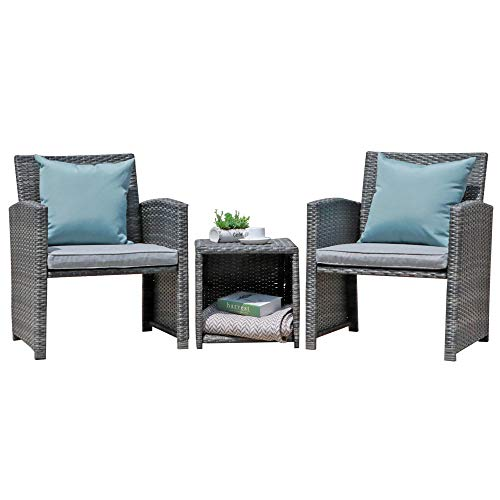 OC Orange-Casual 3-Piece Patio Wicker Bistro Set Outdoor Patio Furniture Set Cushioned Chair Conversation Set with Storage Side Table, Space Saving Design Fit for Porch, Balcony,Garden, Lawn