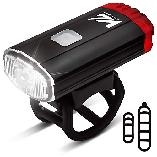 Victgoal Bike Light Dual Front & Rear Bright Light USB Rechargeable Helmet Light IPX5 Waterproof Portable Bicycle Light for All Road Cyclists (Black)