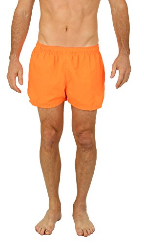 UZZI Men's Basic Swim Shorts Swimwear Trunks NEON Orange (Large)