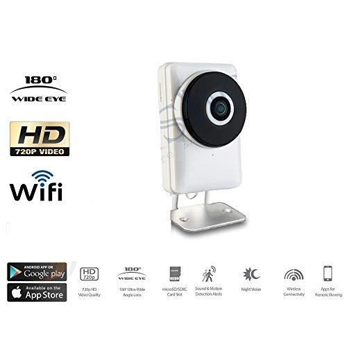 TrAdE Shop Traesio- Telecamera IP Cam 1 MPX 720P Wireless WiFi REGISTRA Micro SD Wide Eye 180 Gradi
