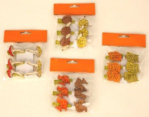 24 Stück Dekoklammer Waldtiere und Pilze Klammer Eichhörnchen Igel Eule Pilz Alle Anlässe Wäscheklammer