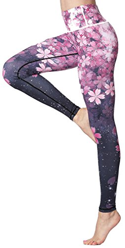 Sucor Damen Sport Leggings Boutique Galaxy Printed Mode gedruckte für Laufen Yoga Workout Stretch Patterned Hosen Taille Sporthosen (Sakura, L)