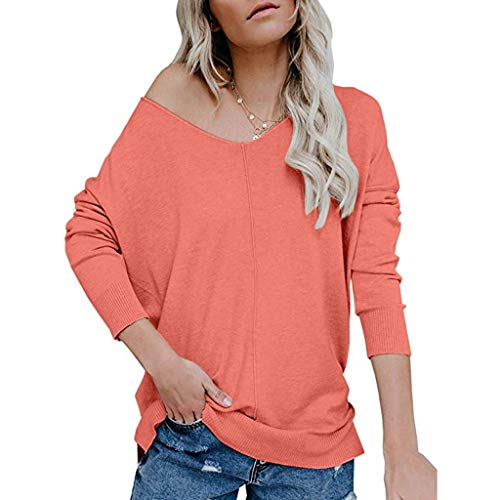 HULKY T-Shirt Femme Manches Longues Chandail Pull Chic Femmes Pull Casual Sweat-Shirt Tunique Tops Blouses Pulls T-Shirt Tunique À Manches Longues pour Leggings pour Femmes