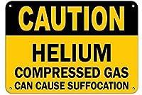 注意ヘリウム圧縮ガスは窒息を引き起こす可能性があります。金属スズサイン通知街路交通危険警告耐久性、防水性、防錆性