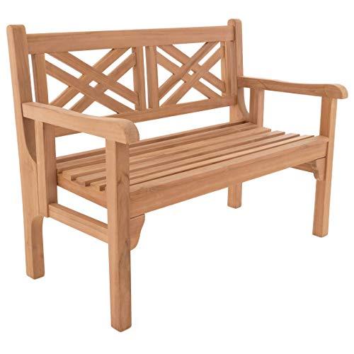 Nexos DIVERO 2-Sitzer klappbar Parkbank 120x61x91 Faltbare Gartenbank Teak Holz behandelt hochwertig massiv Reine Handarbeit wetterfest Friesenbank
