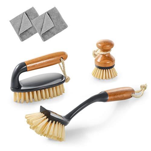 MASTERTOP Juego de 3 Cepillos de Limpieza Incluye 1 Cepillo para Piso, 1 Cepillo para Platos con Mango Largo y 1 Cepillo Redondo, Juego de Cepillos de Bambú para Cocinas Suelo Baño