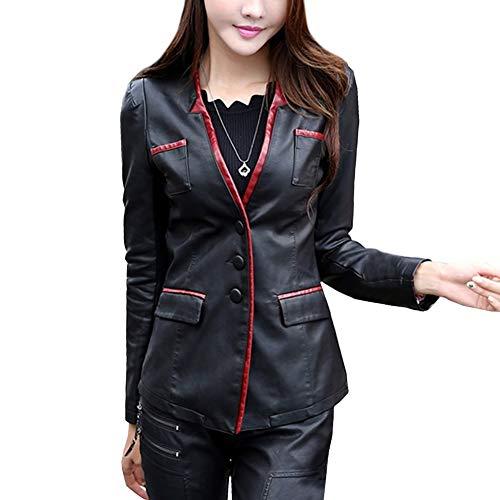 E-girl Chaqueta corta de piel sintética para mujer, entallada, P6928 Negro y rojo. 44
