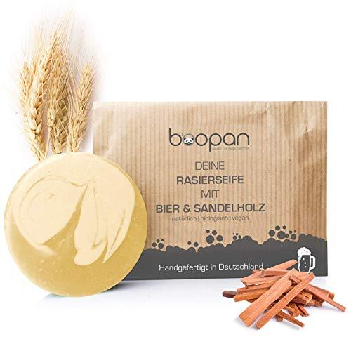 boopan® Rasierseife mit Bier & Sandelholz handgefertigt in Deutschland - bio Rasierseife Herren & Damen - vegan, plastikfrei, natürlich - 60g (Bier&Sandelholz)