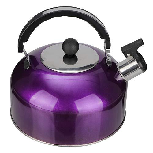 Hemoton 3L Tetera con Silbido Hervidor de Agua de Acero Inoxidable Tetera Hirviendo Calentador de Agua Moderno Recipiente con Mango Ergonómico Seguro para Casa Estufa de Gas Púrpura