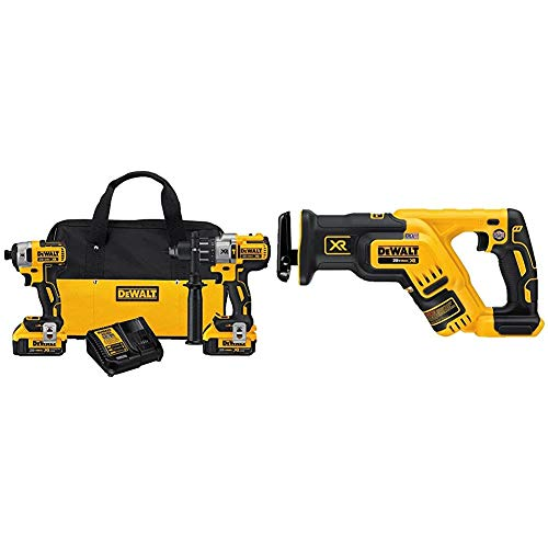 DEWALT 20V MAX XR Brushless Impact Driver and Hammer Drill Combo Kit, Premium 4.0Ah (DCK299M2) & 20V MAX XR Reciprocating Saw, Compact, Tool Only (DCS367B)