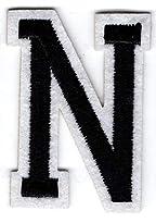 N – Buchstabe; Aufnäher/Patch mit Bügel-Klebe-Fläche zum fixieren