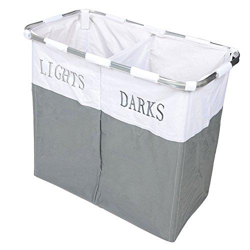 Country Club Lichter en Dark Inklapbaar Laudry mand wasdoeken opbergdoos, metaal, grijs/wit