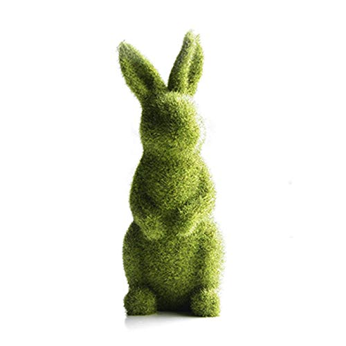 Easter Resin Green Bunny Resin Rabbit Easter Flocking Bunny Garden Patio Ornament Animal Statue Ornaments Window Decor
