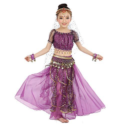 CHANGL Disfraz de Danza del Vientre para niños Disfraces de Danza Oriental Ropa de Bailarina de Danza del Vientre Disfraces de Danza India para niños 3pcs / Set