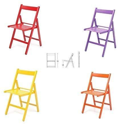 buiani 4 sedie Colorate in Legno Verniciato richiudibile (Rosso,Viola,Giallo,Arancione)