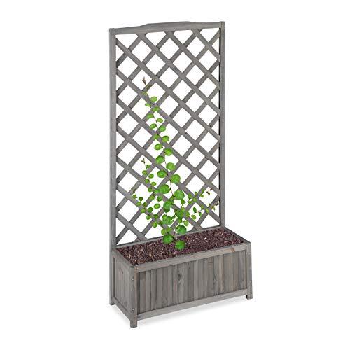 Relaxdays Jardinière avec Treillis Espalier Tuteur Plantes grimpantes bac à Fleurs Bois Vigne Lierre 35L, 150cm, Gris, XL