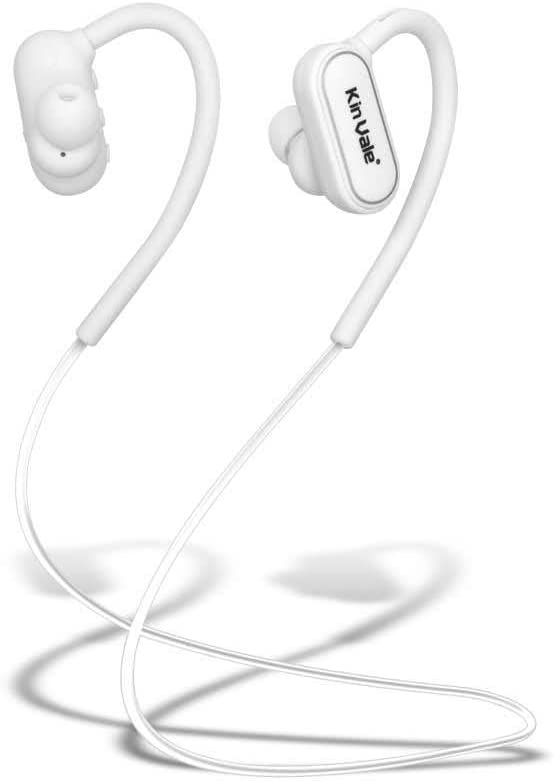 Kin Vale Bluetooth Headset, Wireless Hands Free in Ear Sport Headphone Waterproof Noise Reduction HD Sound Stereo Music Support Voice Prompt Call Time up to 8 Hours Range 10 Meters (White)