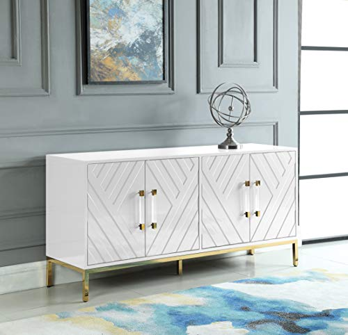 Best Master Furniture Tamari High Gloss Lacquer Sideboard/Buffet, White