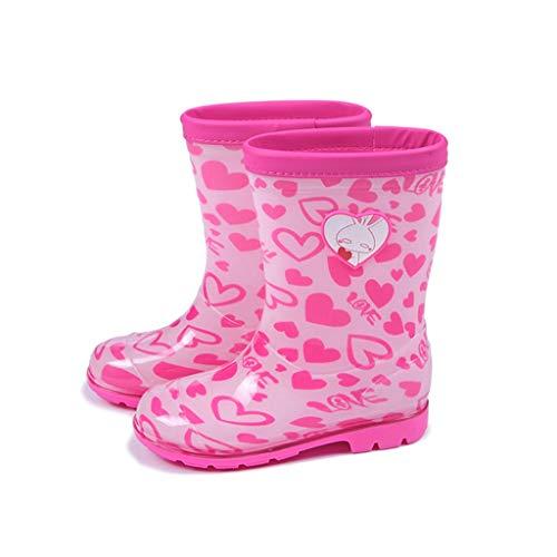 YQQMC Moda Infantil Botas de Lluvia niños y niñas de Moda Botas de Lluvia Botas Antideslizantes Impermeables Lindo diseño de la impresión En el jardín (Color : Pink, Size : 19cm)