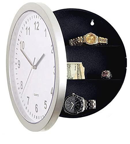 Alupre Reloj de pared, Reloj de pared Contenedor de seguridad para el hogar Almacenamiento secreto Caja de seguridad Caja de almacenamiento de dinero seguro
