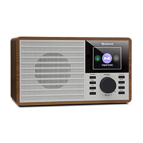 "auna DR-160 BT - Bluetooth-Radio, DAB+/FM Radio, Radiowecker, USB, AUX, 2.4\"" TFT-Display, Abschalttimer Look, Holz, braun"