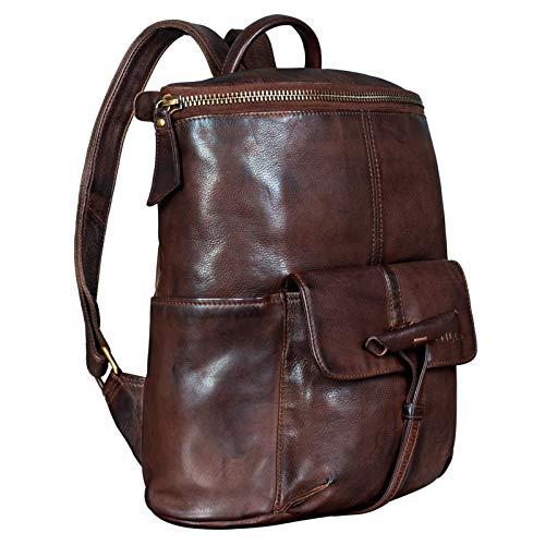 STILORD 'Fernandez' Vintage Rucksack Leder groß Herren Damen Business Uni Büro für schmale Ordner und für 13,3 Zoll MacBooks Echtleder, Farbe:Washed dunkel - braun