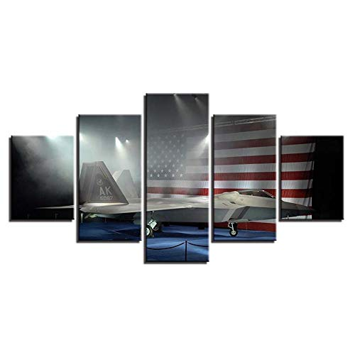 200x100 cm vliesbehang 5 panelen Amerikaanse vlag vliegtuig kunstdruk modern wandschilderijen wanddecoratie design wandschilderij afbeelding van de slaapkamerwoonkamer-wanddecoratie (zonder lijst)