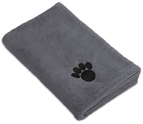 """Bone Dry Embroidered Pet Towel, 44 x 27.5"""", Gray"""