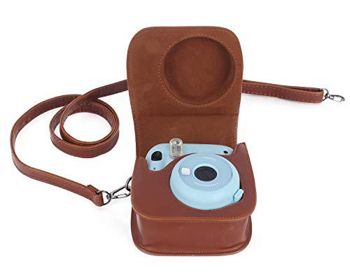Leebotree Sofortbildkameras Tasche Kompatibel mit Instax Mini 11 Sofortbildkamera aus Weichem Kunstleder mit Schulterriemen und Tasche (Braun)