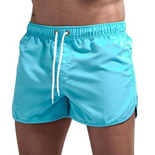Maillot de Bain pour Homme,Short Homme Sport Trunks Boxer Shorts Pantalon Court de Sport Plage Loisir Cordon de Serrage Ajustable