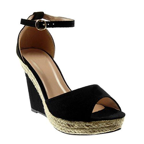 Angkorly - Zapatillas Moda Sandalias Mules Peep-Toe Correa de Tobillo Plataforma Mujer Cuerda Tanga Plataforma 11 CM - Negro 056 T 37