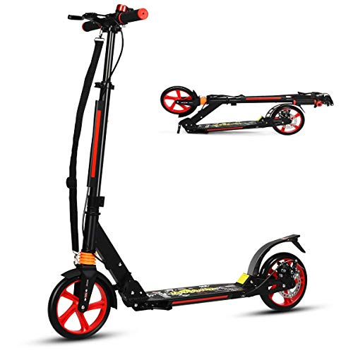 COSTWAY Folding Kick Scooter, 3 Heights Adjustable City Scooters with Big Wheels, Carrying Strap, Lightweight Street Scooter for Kids, Teens and Adults (Black)