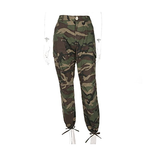 Brilliant firm Mme Salopettes de Camouflage Vert Militaire lâche Faisceau lâche Mince Taille Haute Pantalon décontracté (Color : Green, Size : L)