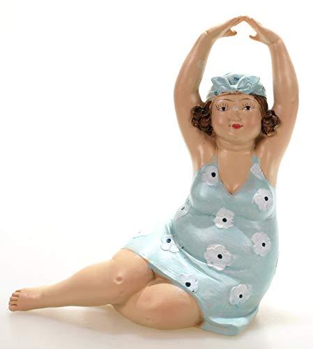 Badenixe sitzend rechts im blauen geblümten Badeanzug und Armen über Kopf 15 cm Mädchen Rubensfrau mollige Dame Dicke Frau Schwimmerin Badezimmer Figur