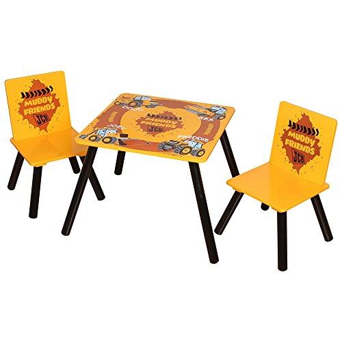 Kidsaw LTD, JCB Muddy Friends Tisch und Stühle, Holz, gelb, 48x 48x 50cm