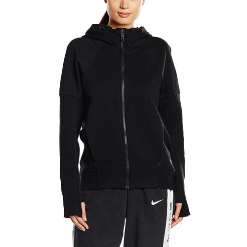 Nike Damen Tech Fleece FZ Hoodie Sweatjacke Mit Verstellbarer Kapuze Und Mit Durchgehendem Reißverschluss, schwarz, XS