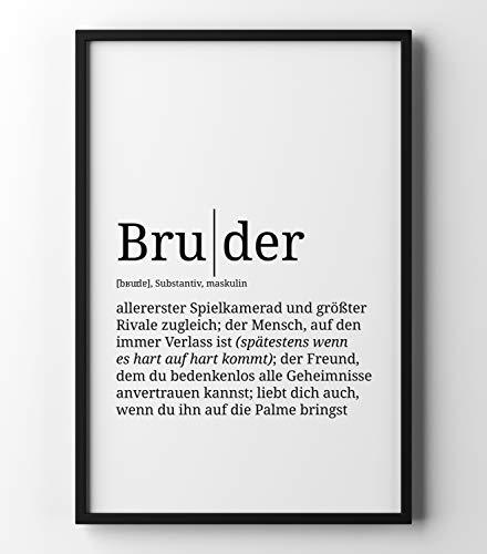 Papierschmiede Definition: Bruder | DIN A1 | Poster mit Worterklärungen wie im Duden für Deine Wanddeko | Kunstdruck für den Bilderrahmen