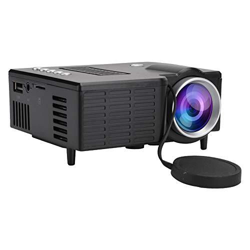 Mini HD Projektor,Tragbarer LED 1080P Lüfter + Aluminium-Kühler + Wirbelluftkanal Heimkino Projektor mit Mehrschichtig Beschichtetem Objektiv für Zuhause/Büro(Schwarz)